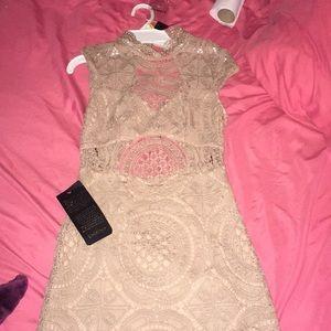 Tan Bebe formal dress